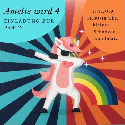 Bild mit Einhorn, Regenbogen und Einladungstext zum Kindergeburtstag