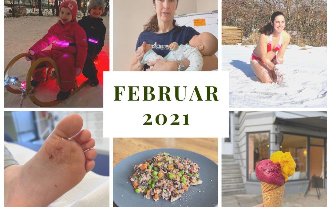 Monatsrückblick Februar: Windelfrei, Schnee und Kinderunfälle